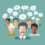 Vector illustration of social media icons in speech bubbles with group of people in trendy flat style. Stock Image