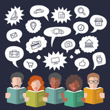 Vector illustration of social media icons in speech bubbles with people reading books in flat style. Stock Photos