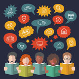 Vector illustration of social media icons in speech bubbles with people reading books in flat style. Stock Photography