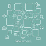 Vector illustration of social network, internet connection, social media icons and places for men icons in flat style. Vector illustration of social network Stock Photo