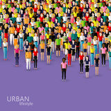 Vector illustration of society members with a crowd of men and women. population. urban lifestyle concept Royalty Free Stock Photo