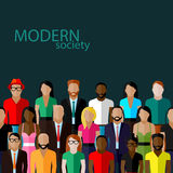 Vector illustration of society members with a large group of men and women. Vector flat  illustration of society members with a large group of men and women Royalty Free Stock Photography