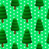 Seamless floral pattern with christmas tree. Vector illustration, soft seamless pattern in vintage style, beautiful cartoon fir christmas tree on green dotted Stock Photo