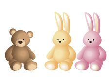 Vector illustration of soft toys: brown teddy bear, vanilla colored hare and pink hare Royalty Free Stock Photography