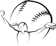 Softball Pitcher Design Stock Photo
