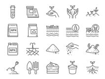 Soil line icon set. Included the icons as earth, compost, land, dirt, ground and more. Vector and illustration: Soil line icon set. Included the icons as earth stock illustration