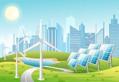 Vector illustration of solar panels and wind turbines in front of the city background with green hills. Eco green city stock illustration