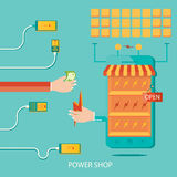 Vector illustration of solar plant, energy shop, manufacturing o Royalty Free Stock Image