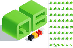 Vector illustration of solid letter in isometric view. Cube styled monospace characters in green color Royalty Free Stock Photo