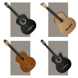 Vector illustration of some types guitar. Royalty Free Stock Photo