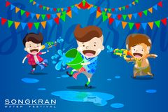 """Vector Illustration for """"Songkran"""" or """"Water Festival"""" in Thailand and many other countries in Southeast Asia. With cute cartoon in the stock illustration"""