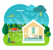 Vector illustration of soundproofing house. Flat style vector illustration of soundproofing house. Lawnmower, truck, helicopter, airplane and thunderstorms make Royalty Free Stock Photo