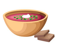 Vector illustration of soup Borscht top view. Food illustration. Stylized icon Royalty Free Stock Image
