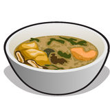 Vector illustration of soup in a white bowl stock illustration