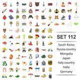 Vector illustration of South korea, Russia, country, Mongolia, Japan, Italy Germany India icon set icon set. Vector illustration of South korea, Russia, country vector illustration