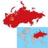 Soviet Union. Vector illustration of Soviet Union map with flag inside Royalty Free Stock Photo