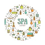 Vector illustration - SPA center. Icons set and poster. EPS 10 Isolated objects Royalty Free Stock Photos