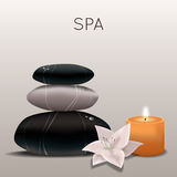 Vector illustration of spa with flower, candle and stones. Vector colorful illustration of spa with flower, candle and stones Royalty Free Stock Image