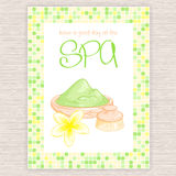 Vector illustration of spa party invitation with colorful mosaic frame with clay, plumeria flower and body brush Royalty Free Stock Photos