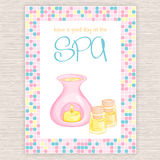 Vector illustration of spa party invitation with colorful mosaic frame with essential oil bottles and oil burner Stock Photography