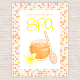 Vector illustration of spa party invitation with colorful mosaic frame with honey and plumeria flower Royalty Free Stock Photography
