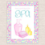 Vector illustration of spa party invitation with colorful mosaic frame with liquid soap and candle Royalty Free Stock Photography