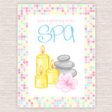 Vector illustration of spa party invitation with colorful mosaic frame. With massage stones, candles and orchid Stock Images