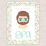 Vector illustration of spa party invitation with colorful mosaic frame with men cosmetic facial mask Royalty Free Stock Image