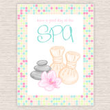 Vector illustration of spa party invitation with colorful mosaic frame with thai herbal massage accessory - balls, stones, orchid Stock Photography
