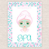 Vector illustration of spa party invitation with colorful mosaic frame with woman with head wrapped towel and cosmetic facial mask.  Royalty Free Stock Photography