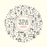 Vector illustration - SPA salon. Icons set and poster. EPS 10 Isolated objects Royalty Free Stock Photo