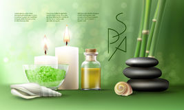 Vector illustration for spa treatments with aromatic salt , massage oil, candles. Royalty Free Stock Photo