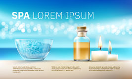 Vector illustration for spa treatments with aromatic salt , massage oil, candles. Stock Images