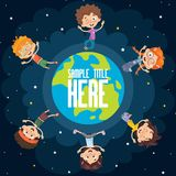 Vector Illustration Of Space Children Royalty Free Stock Photos