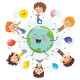 Vector Illustration Of Space Children Stock Images
