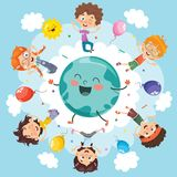 Vector Illustration Of Space Children Stock Photos