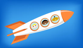 Vector illustration of a space rocket flying into space. With astronauts on board - European, African and Asian Royalty Free Stock Photo