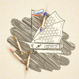 Vector illustration with space sailing ship on the background of stars. stock illustration