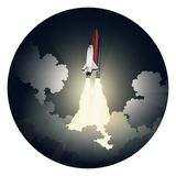 Launch of Space Shuttle. Vector illustration of a space shuttle launch. EPS 10 file with transparencies vector illustration
