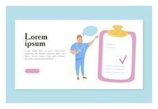 The doctor stands near a large clip Board. Vector illustration with space for text. For medical presentations and consultations. The doctor in blue uniform royalty free illustration