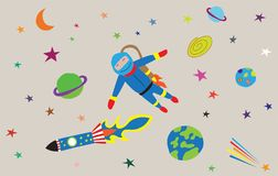 Vector illustration of space travel royalty free illustration