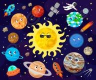 Vector illustration of space, universe. Cute cartoon planets, asteroids, comet, rockets. vector illustration