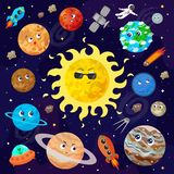 Vector illustration of space, universe. Cute cartoon planets, as vector illustration