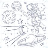 Vector illustration spaceman, planets, stars and satellites. Vector illustration, sketch icons, set cosmos, astronaut spaceman, planets, stars and satellites Stock Image