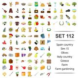 Vector illustration of Spain, country, olives,Italy, Greece farm gardening icon set. Vector illustration of Spain, country, olives,Italy, Greece farm gardening stock illustration