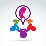 Vector illustration of a speech bubble and a baby embryo. Differ Royalty Free Stock Photo