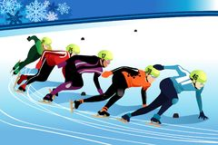 Speed Skating Athletes Competing Illustration. A vector illustration of Speed Skating Athletes Competing in Championship Stock Photography