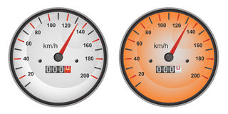 Vector illustration of speedometer. Vector illustration of dashboard speedometer gauges in gray and in orange variants. Eps format 10 is available Royalty Free Stock Photos