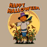 Headed Pumpkin Scarecrow stock illustration