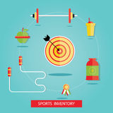 Vector illustration of sport equipments, sports inventory Stock Image